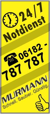 24 Stunden Notdienst - Rohrreinigung Murmann hilft ihnen schnell, sauber und günstig bei Rohrverstopfungen. Telefon 06182 9936677